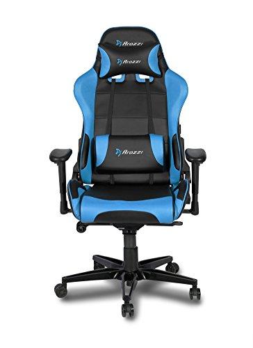 41tQBfcaPtL - Arozzi Verona XL + Silla Gamer, Piel sintética, Azul, 58x 57x 138cm