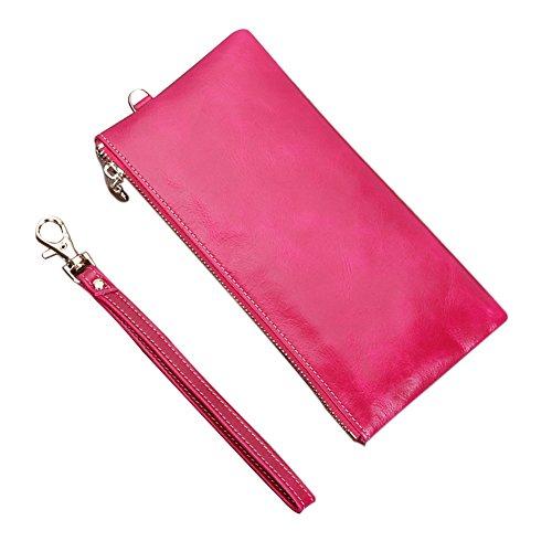 Genda 2Archer Pelle Moda borsetta Frizione Cell Phone Cash Coin Purse con cinturino da polso (Blu) Rosa