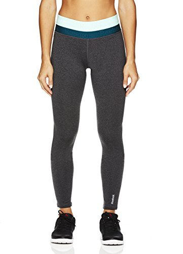 Reebok Women's Legging Full Length Fleece Lined Performance Compression Pants - Duplex Charcoal Heather & Deep Teal/Grey, Medium (Heather Deep Charcoal)