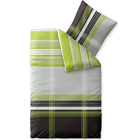 Flauschig weiche Winter-Bettwäsche | viele Größen | Baumwolle Biber 135 x 200 cm | CelinaTex 0004037 | Touchme Corinna | kariert gestreift grau grün