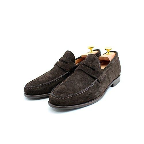 Giorgio Rea Hommes Brown Loafers Suede Handmade Hommes Chaussures Fait À La Main En Italie Dark Brown