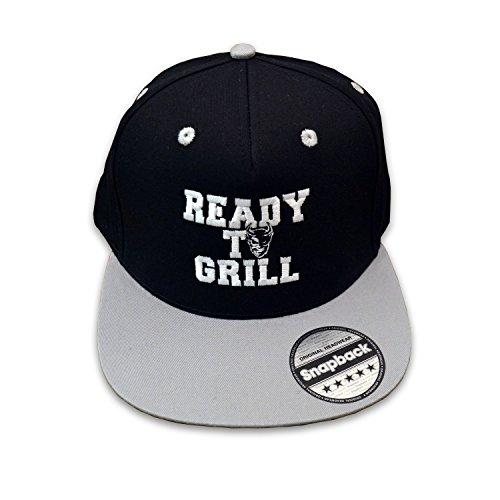 READY TO GRILL Cap - Snapback schwarz / grau mit Logo-Stickerei - BBQ Grill Zubehör / Mütze / Baseballcap