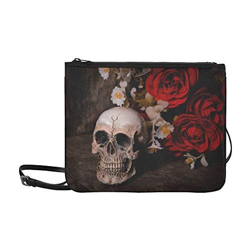 Fantasie-Schädel-Portrait mit Rosen-Muster-Gewohnheit hochwertige Nylon-dünne Handtasche
