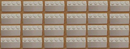 lego-20-x-roof-tile-2x4-45-white-sloped-brick-new-part-no-3039