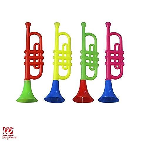 Widmann - AC1831 - Trompette clown sonore Couleurs assorties 30 cm - Trompette clown sonore 4 couleurs