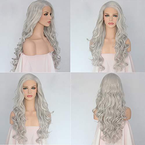 WQWIG Graue wellenförmige Perücken für Frauen Lange synthetische Spitze vorne Haar schwarz braun Mix hitzebeständig für Cosplay Kostüm - Graue Haare Kostüm Perücke
