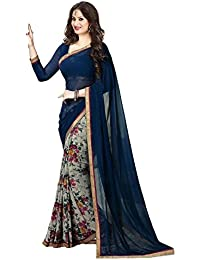 Macube Women's Georgette Saree With Blouse Piece (Ms1276_01, Multicolor, Free Size)