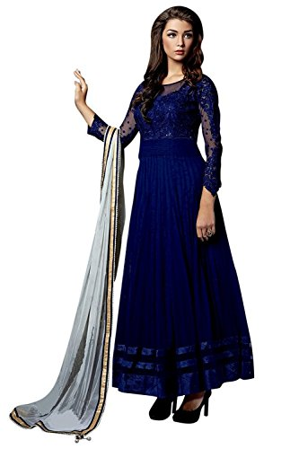 Home Deal Nevy Blue Net Embroidery Anarkali Semi Stiched Free Size Dress Materials With Beautifull Duppta ...