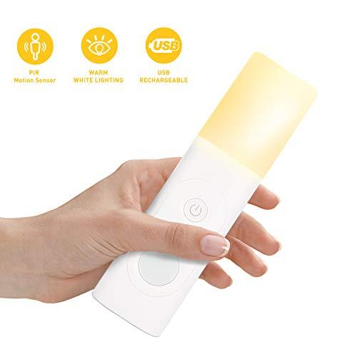 TASMOR LED Tischleuchte mit Bewegungsmelder, Tragbare Nachtlicht USB Aufladbare Tischleuchte Kabellose Notfall-Taschenlampe für Schlafzimmer, Badezimmer, Babyzimmer, Kindrzimmer