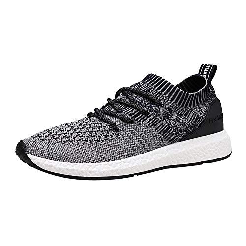 OHQ Chaussures De Sport pour Hommes Course éTudiants Noir Gris Bleu Occasionnels Respirant Plein Air Sneakers en Cours D'ExéCution