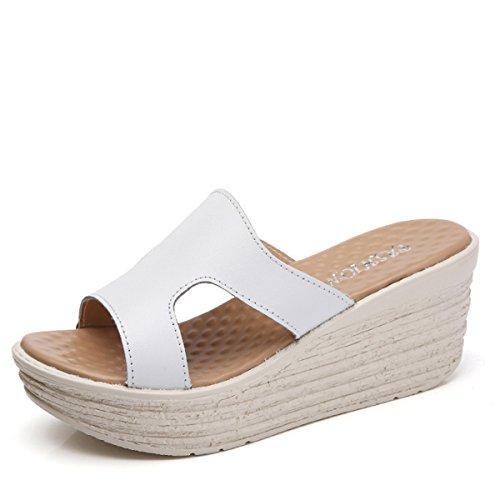 Einfach Freizeit Lässig Modisch Bequem Damen Pantoffeln Weiß On Atmungsaktiv Aushöhlen Slipper Rutschhemmend Plateau Slip Klassisch Sommerlich AwxwtOT7q