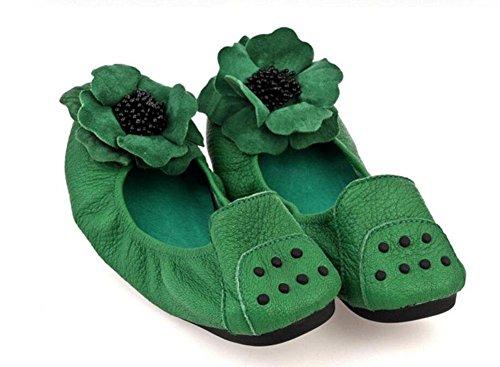 GLTER Frauen faltbare Ballettschuhe Leder Ei Rolls Frauen 's flache Schuhe flache Wohnung mit einem einzigen runden Schuhe Tanzen Schuhe Green