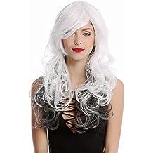 WIG ME UP ® - GF-W2048-1B-1001+1001 Peluca mujer larga ondulado escalonado color blanco-negro raya medio