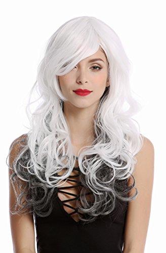 (WIG ME UP - GF-W2048-1B-1001+1001 Perücke Damenperücke Diva lang weiß mit schwarzen Haaren im Nacken lang wellig gestuft Scheitel)