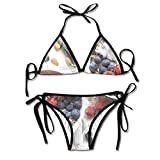Women's Blueberry Strawberry Cereal Sexy Bikini Swimsuit Suit Set
