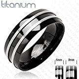Lanbay Solid Titanium with Two Stripes on a Onyx Colored Ring; Comes with Box