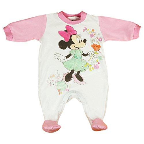 Mädchen BABY-STRAMPLER mit Füßchen, UNGEFÜTTERT, Spiel-Anzug mit Druckknöpfen, BABY-SCHLAFANZUG langarm mit Minnie Mouse Motiv rosa oder grün, Grösse 62, 68, 74, 80 für Neugeborene Size 68, Farbe Rosa (Säuglings-baby-strampelanzug)