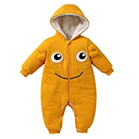 NEWLUK Baby Rompers Boys&Girls,Tights,Rompers Cartoon Printing Solid Color Hooded Padded Cotton Clothes Warm Coat Jumpsuits Yellow