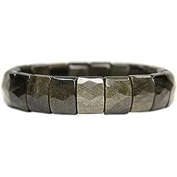 """Natural Golden Obsidian auténtica semi precious gemstone 15mm grano cuadrado facetado cuentas elástico pulsera 7"""""""
