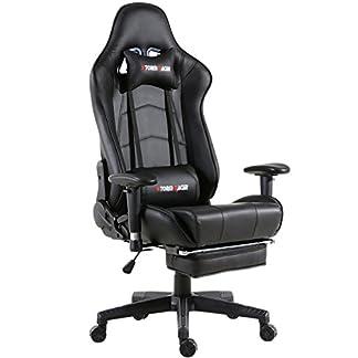 Storm Racer ergonómico Gaming Chair Silla de Respaldo Alto Silla de Oficina con reposapiés Ajuste reposacabezas y Apoyo Lumbar Silla de Racing (Negro -S)