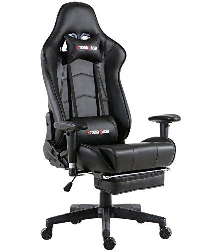 Storm Racer Gaming Chaise de Racing Dossier Haut Siège et Réglable Repose-Pied avec Têtière Support Lombaire Flexible Idéal pour Chaise (Noir)