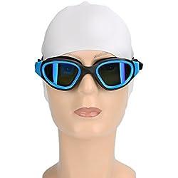 Gafas de natación, Uzexon Gafas de natación para adultos sin fugas Tecnología anti-niebla y protección UV - Visión clara y marco de silicona suave - cómodo para hombres o mujeres (7202 Azul)