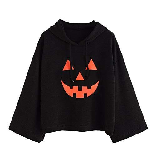 VEMOW Damen Frauen Lose Plus Lose Print Halloween Casual Täglichen Party Cosplay Langarm Hood Hoodies T-Shirt Tops Bluse(Schwarz, EU-44/CN-M)