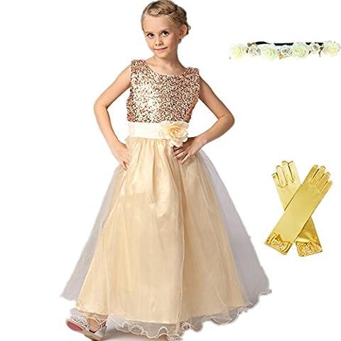 Hochzeit Kleid für Kinder Mädchen mit Handschuhen und Haarband - Tyidalin Festlich Pailleten Tüll Abendkleid Party Prinzessin Kleider Blumenmädchen, Creme,