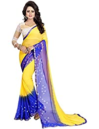 Ishin Women's Chiffon Saree With Blouse Piece (Swrya-Dd-Bandhanilaceyellow_Yellow & Blue)