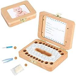 Luchild Caja para guardar dientes para niños y niñas, Regalo para niños en madera de souvenir, Acumulación de dientes