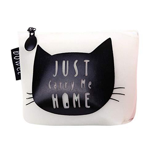 Kleine Geldbörse Damen Mädchen Geldbeutel Klein Handtasche Portemonnaie mit Reißverschluss Cartoon Katze Drucken Coin Taschen Portmonee Münzfach Kurze Geldtasche Mini Brieftasche Schlüssel beutel -