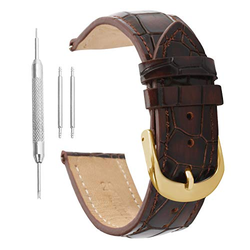 Uhrenarmband 18mm braun Gurt Korn Uhr Leder Leder Krokodil (Swatch-uhr-gurt)
