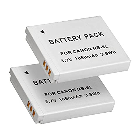 BPS 2x 1050mAh NB-6L NB-6LH Battery for Canon PowerShot SX710, PowerShot SX610, SX530, SX600, SX270, D30 Point and Shoot Digital Camera, Canon Battery Charger CB-2LYE