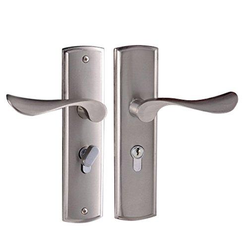 Homyl Innentürschloss Latch Türbeschläge Türschloss Schloss mit 3 Schlüsseln Set - Modern Silber