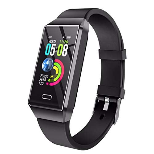 Hengzi Smart Watch Sport Fitness Aktivität Herzfrequenz Tracker Uhr IP67 Kalorien (Schwarz)