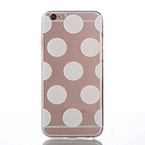 SecondDromi Cute Many Wave Dot Patterns Silicone funda para iPhone 6S(4,7), para iPhone 6,Blanco