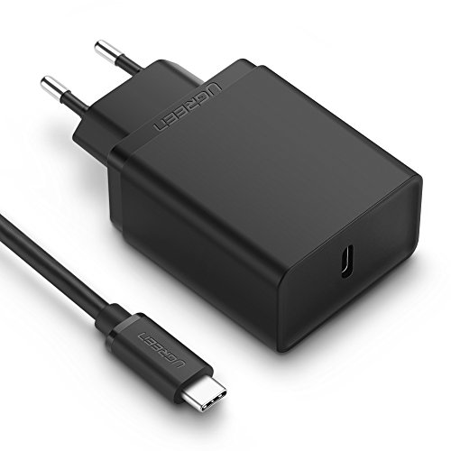 UGREEN Cargador USB C Power Delivery 2.0, USB PD Cargador Rápido QC 3.0 Compatible para Google Pixel 2/ Pixel 2 XL, iPhone X/ 8 Plus/ 8, Samsung S8/ S8 Plus, Nexus 5X/ 6P, Más(1M USB C Cable Incluido)