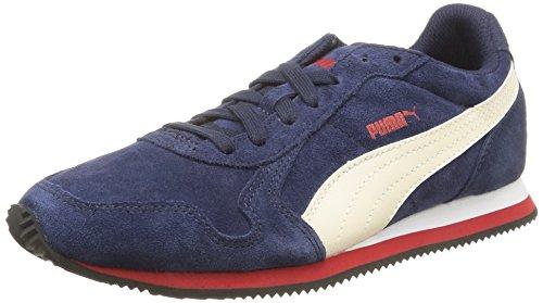 Puma St Runner Suede, Chaussures de Football Garçon Bleu (Peacoat/Whisper White/High Risk Red/White/Black)