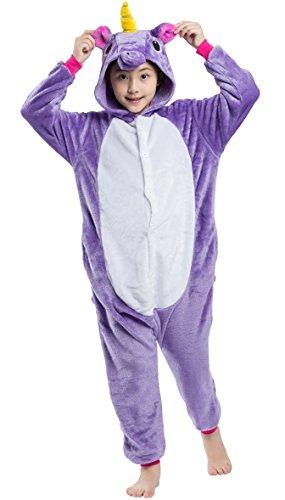 Enfants Unisexe Animal Cosplay Kigurumi Pyjama pour taille 90-146 cm - Licorne Violet