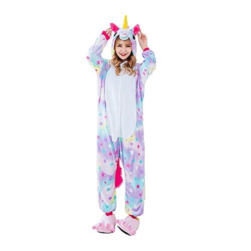 Süßes Einhorn Overalls Jumpsuits Pyjama Fleece Nachtwäsche Schlaflosigkeit Halloween Weihnachten Karneval Party Cosplay Kostüme für Unisex Kinder und Erwachsene (S, Stern Einhorn)