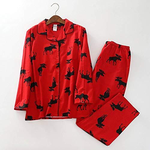 LYQZTM Red Christmas Pyjamas Weiblicher Hirschdruck Gebürstete Baumwolle Lange Ärmel Elastische Taille Hosen Lässige Pyjamas Pyjamas (Gebürstete Pyjama Hose Baumwolle)