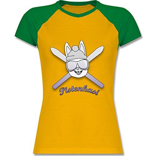 Après Ski - Pistenhasi - zweifarbiges Baseballshirt / Raglan T-Shirt für Damen Gelb/Grün