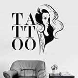 zqyjhkou Tattoo Salon Wandtattoos Gilrs Wandaufkleber Für Tattoo Studio Schaufenster Wanddekorkunst...