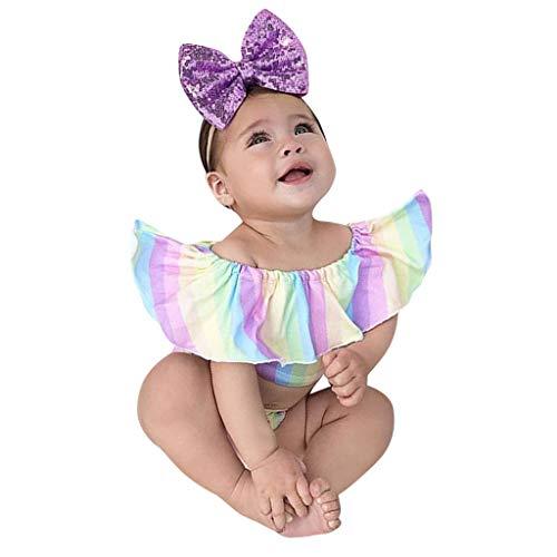 Livoral Baby Madchen Kleidung Neugeborenes Baby Mädchen Rüschen schillern aus Schulter gestreiften Strampler Body(Mehrfarbig,100) (Neugeborene Baby-kleidung Nike)