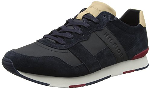 Tommy Hilfiger Herren City Casual Material Mix Runner Sneaker, Blau (Midnight 403), 43 EU