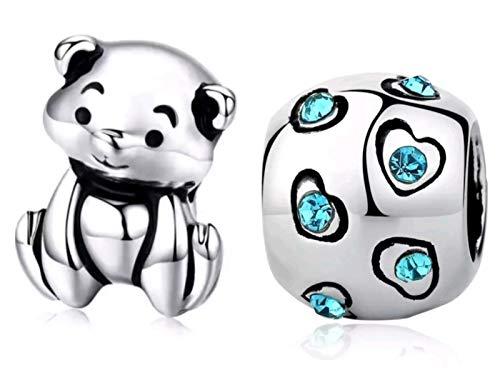 hänger, 1 Teddy Bär und 1 Kugel verziert mit blauen Kristallen - Charms für Armbänder und Halsketten im europäischen Stil - Geschenk zum Geburtstag, Valentinstag oder Weihnachten ()