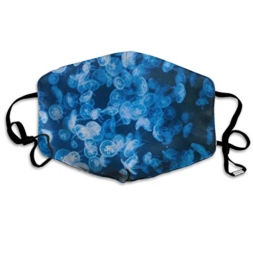 Gold Dust Woman Kostüm - liang4268 Mundmasken Deep Sea Jellyfish Blue Washable Reusable Safety Mask Cotton Anti Dust Half Face Mouth Mask for Kids Teens Men Women Lovers Dustproof with Adjustable Ear Loops
