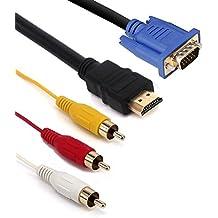 igreely 1,5m HDMI a VGA 3RCA Cable, 1,2/1,5m HDMI macho a VGA macho 3RCA macho vídeo Audio AV Componente Convertidor Cable adaptador chapado en oro para hdtv tv satélite, vídeo por componentes RGB y la mayoría de los proyectores LCD