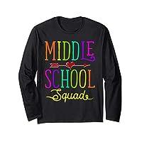 Back To School Shirt Middle School Squad Teacher, Student Long Sleeve T-Shirt