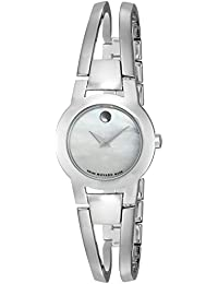 Movado Women's 24mm Silver Steel Bracelet & Case synthetic sapphire Watch 606538